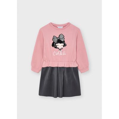 Сукня, чорний низ в складочку, Рожевий, Mayoral Іспанія, 22OZ
