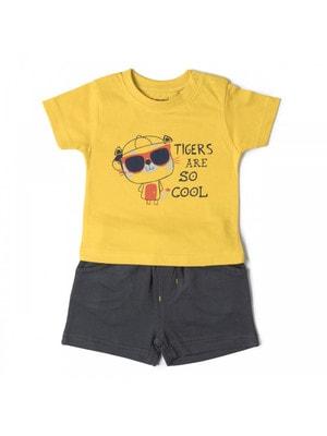Комплект, Футболка  + сірі шорти, Жовтий, Babybol Іспанія, 19VL