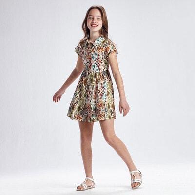 Сукня, зелений принт, Кремовий, Mayoral Іспанія, 21VL