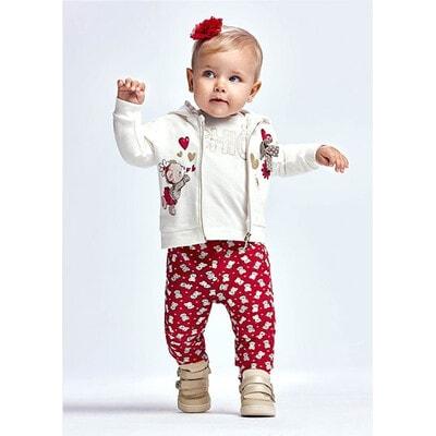 Комплект, Кофта біла + штани 2 шт., утеплений, Червоний, Mayoral Іспанія, 22OZ
