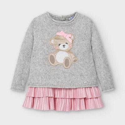 Комплект, Светр + рожева сукня, Сірий, Mayoral Іспанія, 21OZ