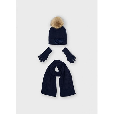 Головний убір Комплект, Шапка + шарф + перчатки, Темно-синій, Mayoral Іспанія, 22OZ