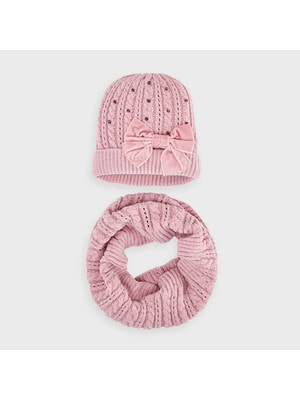 Головний убір Комплект, Шапка + шарф, Рожевий, Mayoral Іспанія, 21OZ