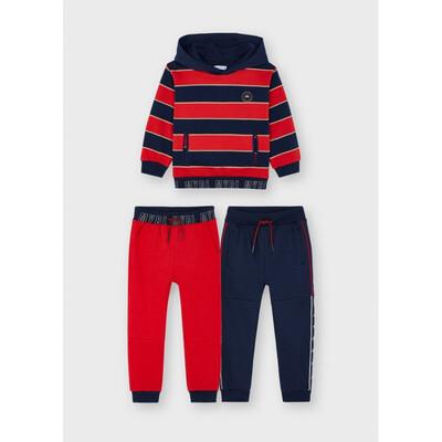 Комплект Спортивний, Пуловер в синю смугу + штани  2 шт., утеплений, Червоний, Mayoral Іспанія, 22OZ