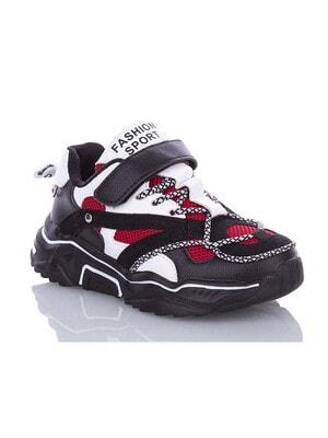 Кроссовки с белыми и красными вставками (Fashion SPORT), Черный, Башилы Турция, 20VL