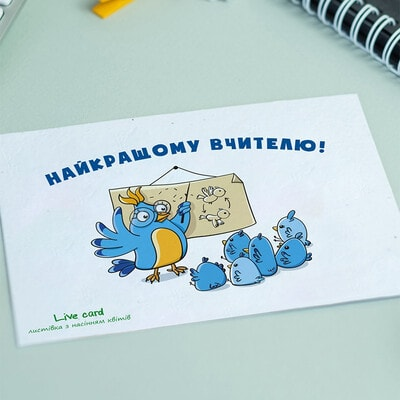 """ІГРАШКА Набір, Листівка квітуча """"Найкращому вчителю!"""", Brinjal Україна"""