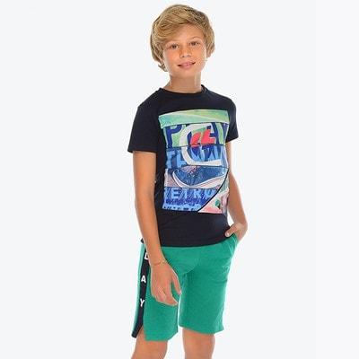 Комплект, Футболка + зелені шорти, Темно-синій, Mayoral Іспанія, 19VL