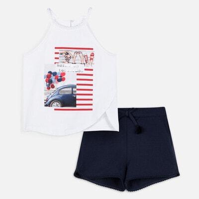 Комплект, Майка біла + шорти, Темно-синій, Mayoral Іспанія, 20VL