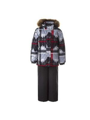 Комплект, Куртка (червона смуга) + напівкомбінезон DANTE 1, Темно-сірий, HUPPA Естонія, 21OZ
