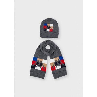Головний убір Комплект, Шапка + шарф, Сірий, Mayoral Іспанія, 22OZ