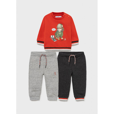 Комплект Спортивний, Пуловер + штани 2 шт., утеплений, Теракотовий, Mayoral Іспанія, 22OZ