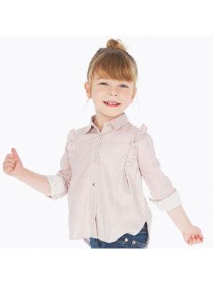 Блуза, довгий рукав, в білу смугу, Рожевий, Mayoral Іспанія, 20OZ