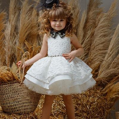 Платье с вышивкой на поясе камни (воротник с камнями, отстегивается), Розовый, Pamina Турция, 20VL