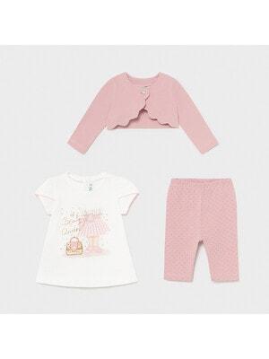 Комплект, Кофта + біла футболка + легінси в цяточку, Рожевий, Mayoral Іспанія, 21VL