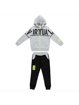 Костюм Спортивний, Кофта (чорним VIRTUAL) + чорні штани, Сірий, iDO Італія, 19VL