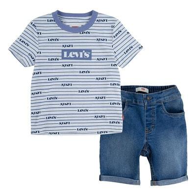 Комплект, Футболка +шорти джинсові, Синій, LEVI`S США, 21VL