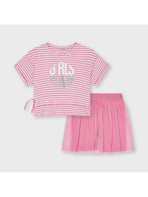 Комплект, Футболка в білу смугу + шорти, Рожевий, Mayoral Іспанія, 21VL