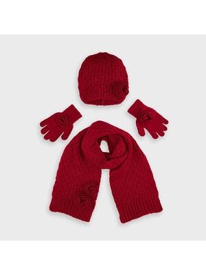 Головний убір Комплект, Шапка + шарф + рукавички, Червоний, Mayoral Іспанія, 21OZ