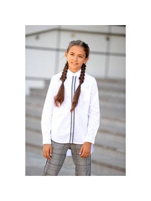Шкільна форма, Блуза довгий рукав (срібляска стрічка), Білий, ТМ Colabear, 19Ошкола