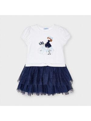 Сукня, (дівчинка в синій сукні), Білий, Mayoral Іспанія, 21VL