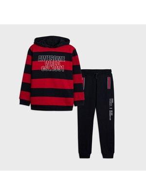 Комплект Спортивный, Пуловер в красную полосу + брюки, темно-синий, Mayoral Испания, 21OZ