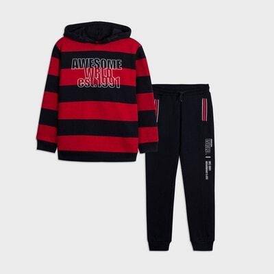Комплект Спортивний, Пуловер в червону смугу + штани, Темно-синій, Mayoral Іспанія, 21OZ