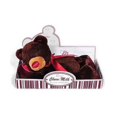 Іграшка М'яка, Ведмедик  Choco з червоним серцем 30 см (лежачий), ORANGE Китай