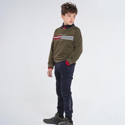 Комплект Спортивний, Пуловер + темно-сині штани, Зелений, Mayoral Іспанія, 21OZ