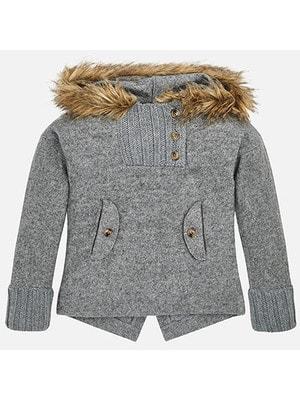Пуловер, на капюшоні хутро, Сірий, Mayoral Іспанія, 19OZ