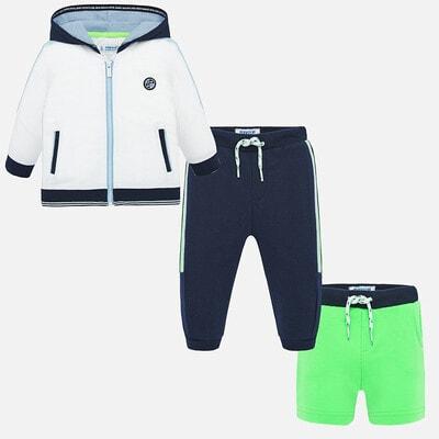 Комплект Спортивний, Кофта + сині штани + зелені шорти, Білий, Mayoral Іспанія, 20VL
