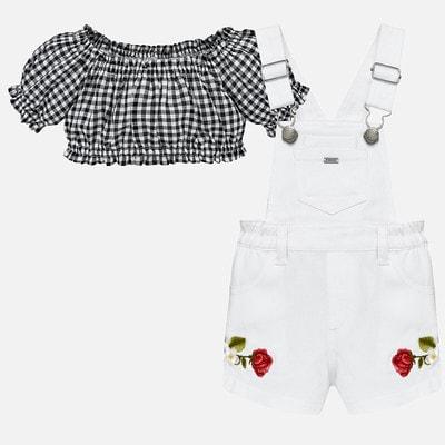 Комплект, Блуза чорна + комбінезон, Білий, Mayoral Іспанія, 19VL