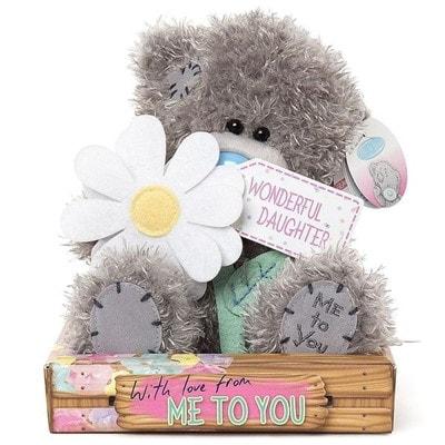 Іграшка М'яка, Ведмедик Тедді з квіточкою для донечки, 18 см, Me To You Великобританія