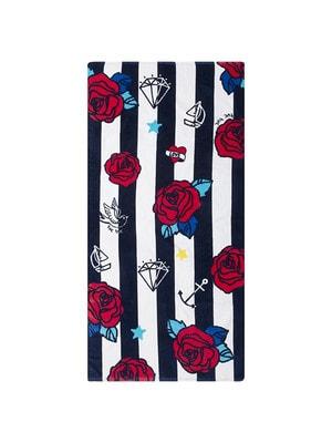 Полотенце в белую полосу (красные розы), Темно-синий, TucTuc Испания, 19VL
