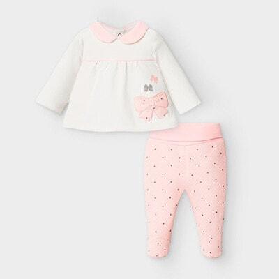 Комплект, Джемпер білий + повзунки в горошок, Рожевий, Mayoral Іспанія, 21OZ
