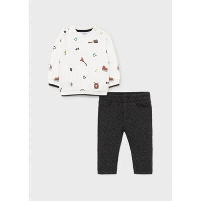 Комплект Спортивний, Пуловер білий + штани, Темно-сірий, Mayoral Іспанія, 22OZ