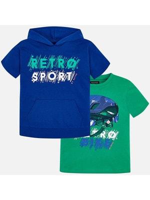 Комплект, Футболка зелена + футболка з капюшоном, Синій, Mayoral Іспанія, 19VL