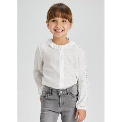 Блуза, в сріблястих зірочках, Білий, Mayoral Іспанія, 22OZ