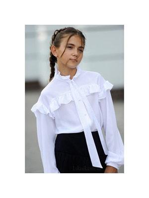 Шкільна форма, Блуза, довгий рукав (зверху воланчик), Білий, REMIX Польща, 19Ошкола