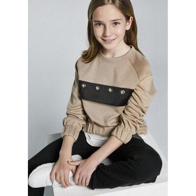 Комплект, Пуловер + чорні штани, Бежевий, Mayoral Іспанія, 22OZ
