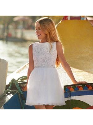 Сукня, зверху мереживо, Білий, Mayoral Іспанія, 19VL