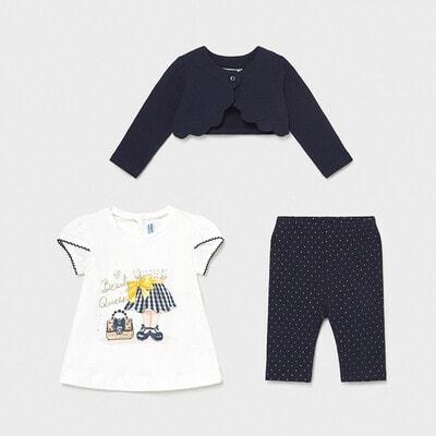 Комплект, Кофта + біла футболка + легінси в цяточку, Темно-синій, Mayoral Іспанія, 21VL