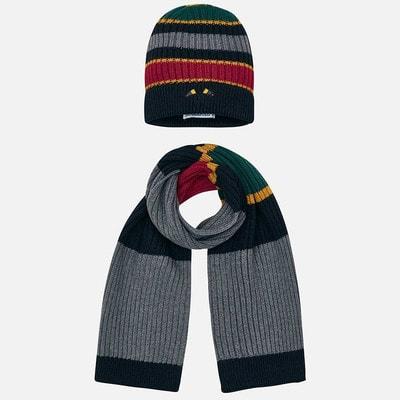 Головний убір Комплект, Шапка + шарф (червоні, зелені смуги), Сірий, Mayoral Іспанія, 20OZ