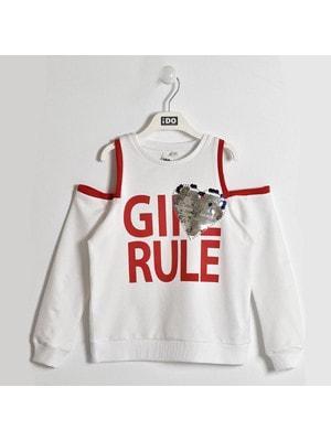 Пуловер, червоні написи (серце з паєток), Білий, iDO Італія, 19VL