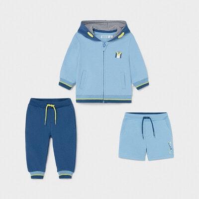 Комплект, Кофта + сині штани + шорти, Блакитний, Mayoral Іспанія, 21VL