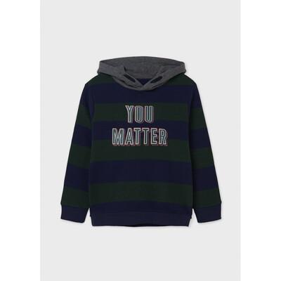 Пуловер, з капюшоном, в синю смугу, утеплений, Зелений, Mayoral Іспанія, 22OZ