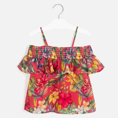 Блуза, в цветах и ягодах, Коралловый, Mayoral Испания, 20VL