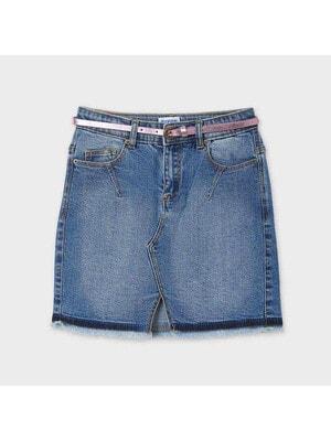 Спідниця, джинсова + ліловий пояс, Синій, Mayoral Іспанія, 21VL