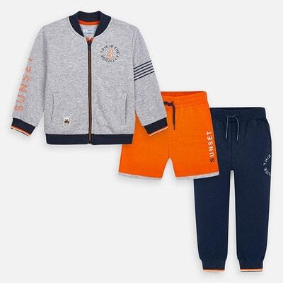 Комплект Спортивний, Кофта + сині штани + помаранчеві шорти, Сірий, Mayoral Іспанія, 20VL
