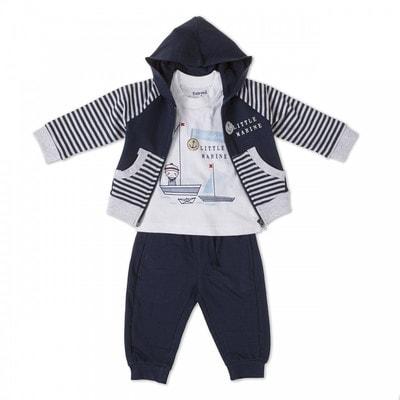 Комплект, Кофта + футболка біла + штани, Темно-синій, Babybol Іспанія, 19VL