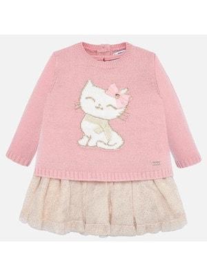 Сукня, низ бежевий + светр, Рожевий, Mayoral Іспанія, 20OZ